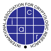IACR logo, a deep purple circle split into pieces with the letters I, A, C, R in individual pieces of the circle